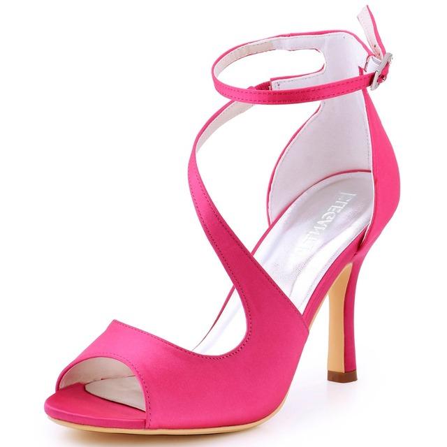 Mulheres Sandálias Rosa Quente Cinta Cruz De Salto Alto Noiva Dama de Honra Do Casamento Sapatos de Noiva Sexy Prom Evening Partido Bombas HP1565 Borgonha
