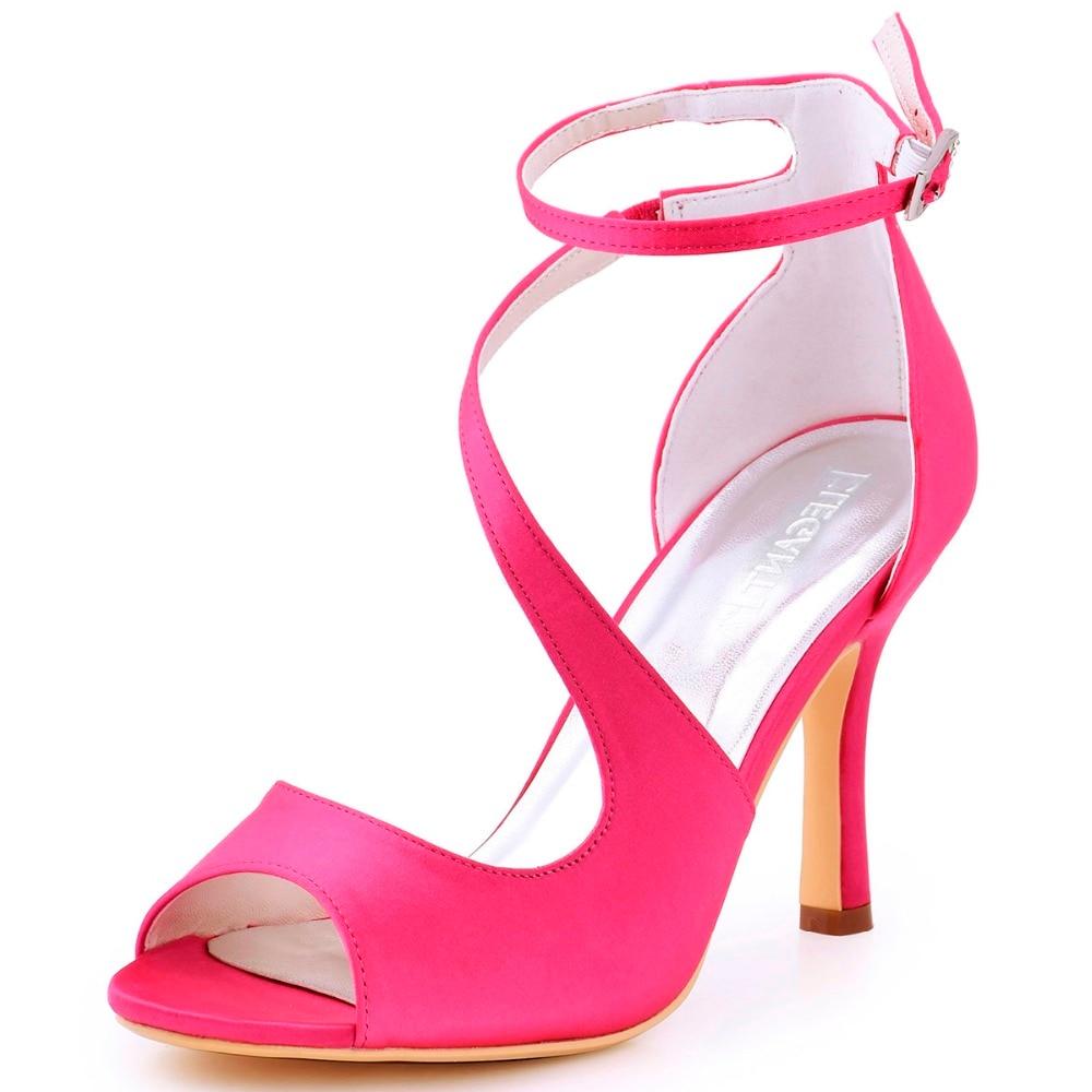 Pink Heels For Wedding: Women Sandals Hot Pink Cross Strap High Heel Bride