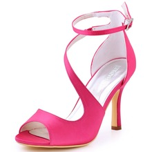 Women Sandals Hot Pink Cross Strap High Heel Bride Bridesmaid Wedding Bridal Shoes Sexy Prom Evening Party Pumps HP1565 Burgundy