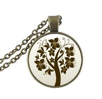 Collier Femme Tree Of Life Pendant Necklace Bronze Statement Chain Necklace Glass Cabochon Neckless Handmade Jewellery Wholesale