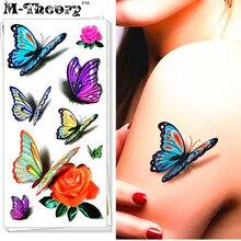 M-Theory Temporary 3D Tattoos Body Arts Butterfly Flash Tatoos Stickers 19x9cm Waterproof Bikini Swimsuit Makeup Tools