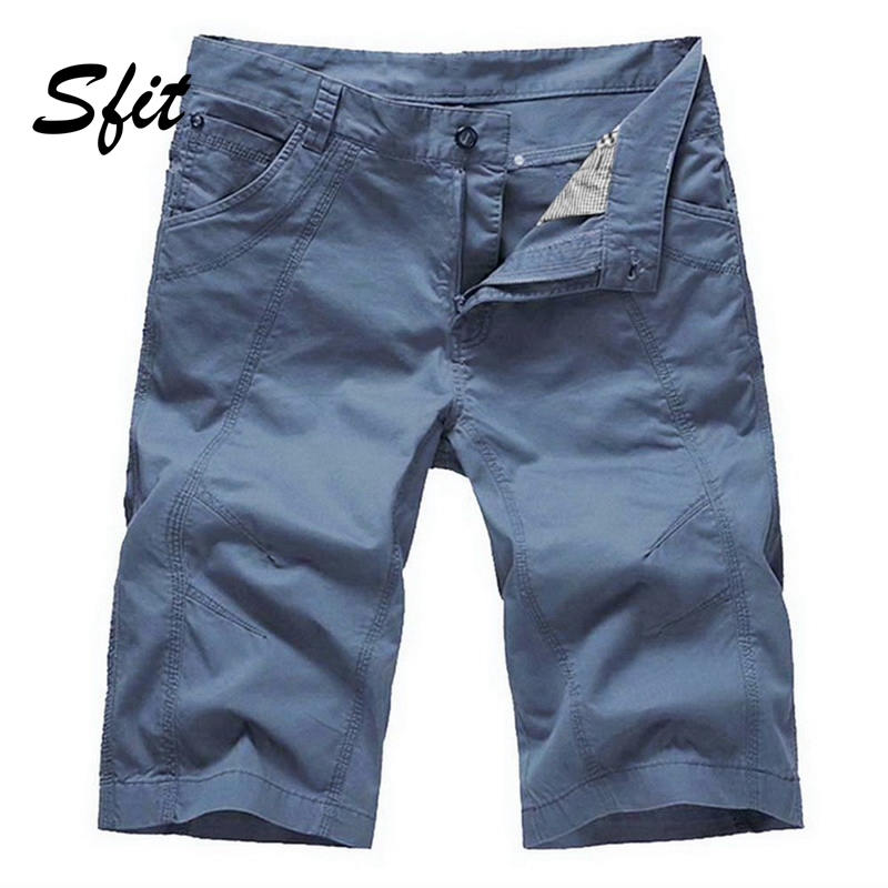 Sfit 2019 Men Casual Cargo   Shorts   Tooling Knee Length Cotton Male Loose Sports Jogging Multi-Pocket Military Beach   Board     Shorts
