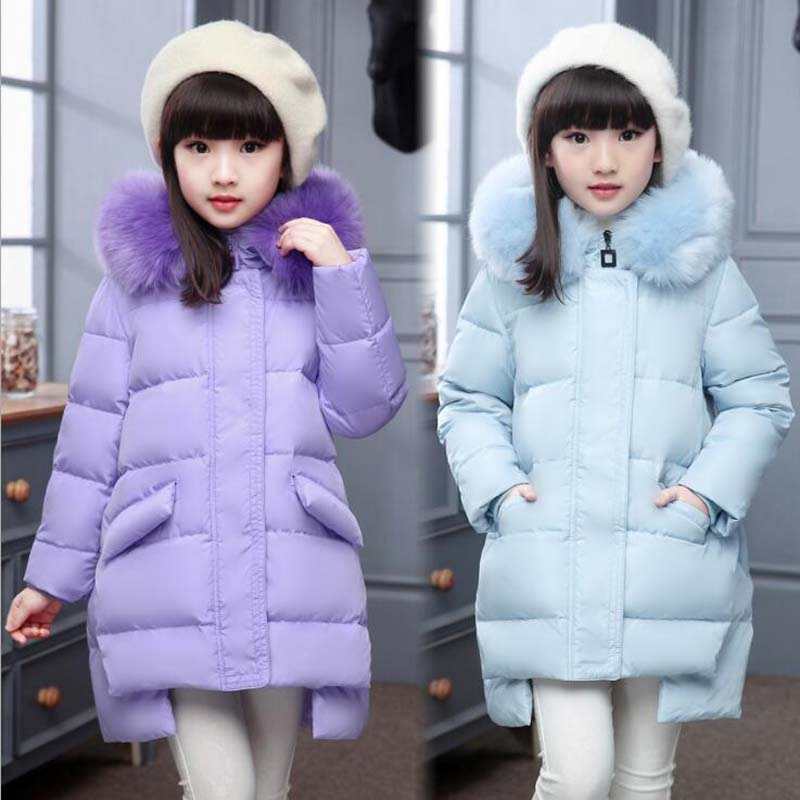 2017 New Fashion Children White Duck Down Jackets Girls Fur Collar Coat Casual hooded long kids winter outwear for 5-10Years kindstraum 2017 super warm winter boys down coat hooded fur collar kids brand casual jacket duck down children outwear mc855
