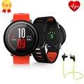 En la acción! amazfit xiaomi huami deportivos smartwatch 1.34 pulgadas xiaomi smart watch sport bluetooth de música mp3 a prueba de agua
