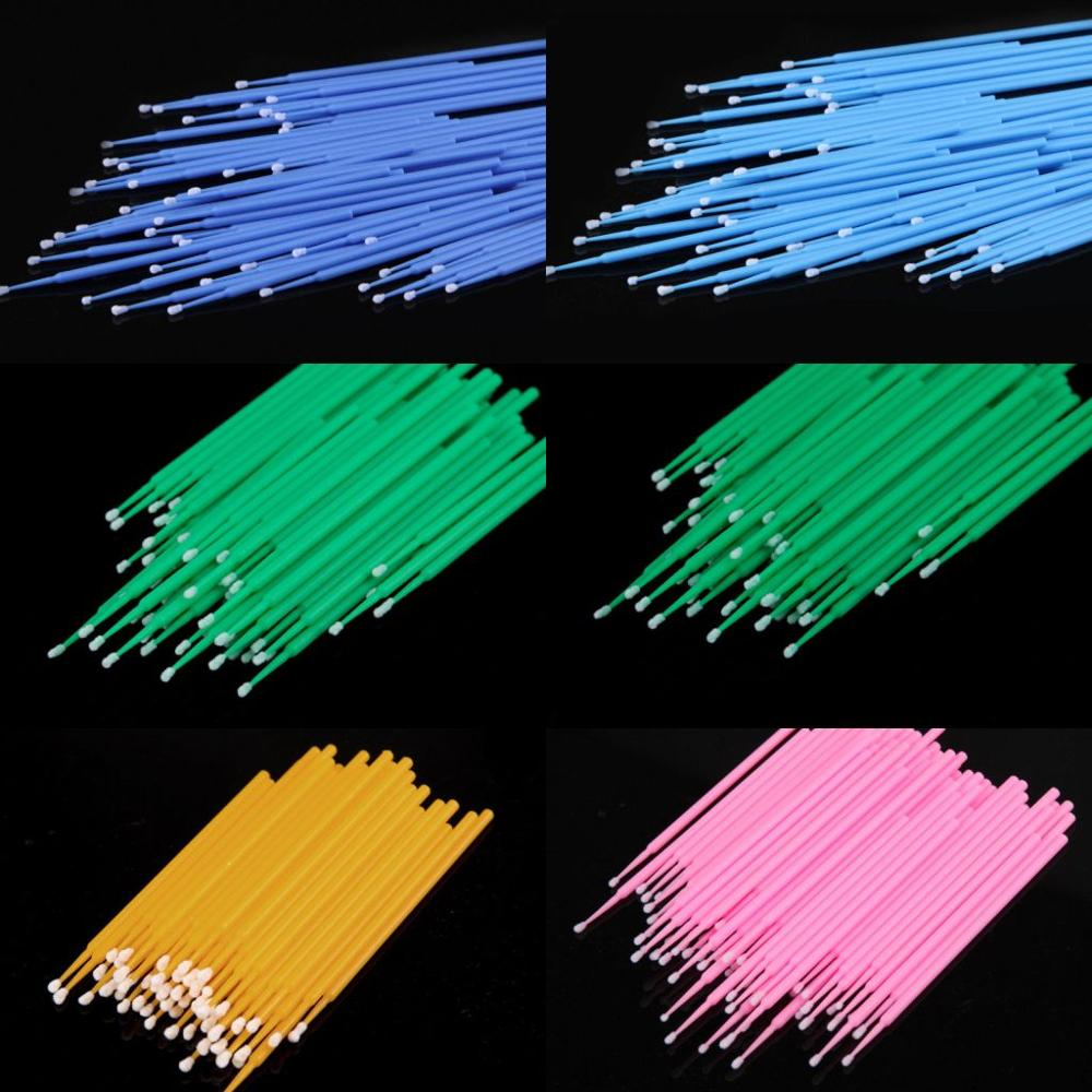 100 Eyebrow Plastic Swab Micro Brush Disposable Material Eyebrow Applicator Medium Fineness