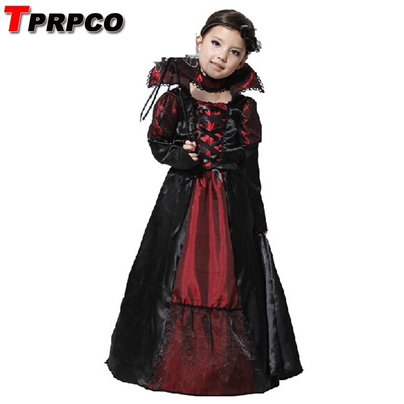 TPRPCO Children Girls Princess Vampire Costumes Children's Day Halloween Costume for Kids Long Dress Carnival Party Cosplay N116