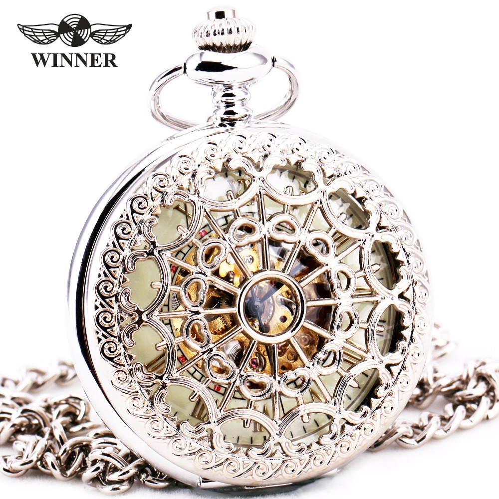 Delicate Silver Stainless Steel Unisex Baroque Womens Automatic Mechanical Pocket Watch Hollowed Lid Chain