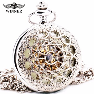 Delicate Silver Stainless-steel Unisex Baroque Womens Automatic Mechanical Pocket Watch Hollowed Lid Chain Luxury Fob Watches