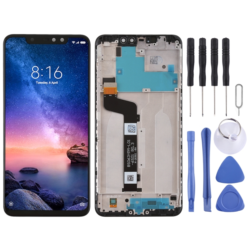 Haute Qualité Écran LCD et Digitizer Assemblée Complet Lcd de Remplacement En Verre avec Cadre Pour Xiaomi Redmi Note 6 Pro Avec outils