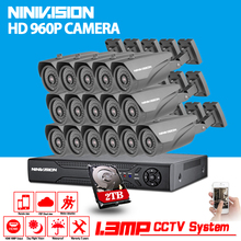 HD 960P 16CH CCTV Security 1080P AHD DVR Kits 16pcs 1.3MP Outdoor Waterproof Security Camera Home Surveillance System 1TB HDD