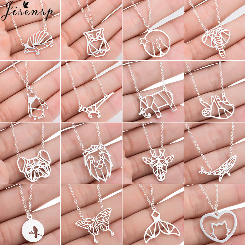 Jisensp Origami Animal Pendant Necklace for Women Stainless Steel Jewelry Cute Butterfly Whale Elephant Necklace Choker joias