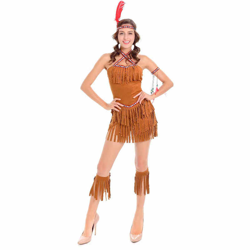 f6329ef08a4 Adult Sexy Cosplay Pocahontas Matoaka Costumes Indians Squaw Cowgirl ...