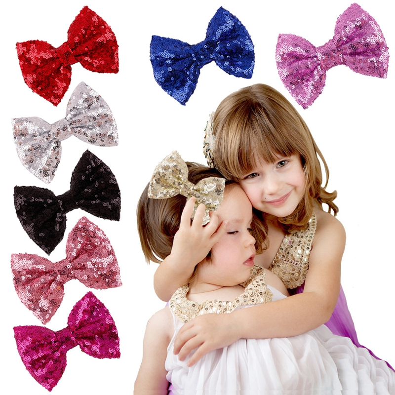 2016 New Cute Bow Shining Butterfly Hair Clip Sequin Bow Baby Toddler Kids Head Hair Acessories For Girls Brithday Gift