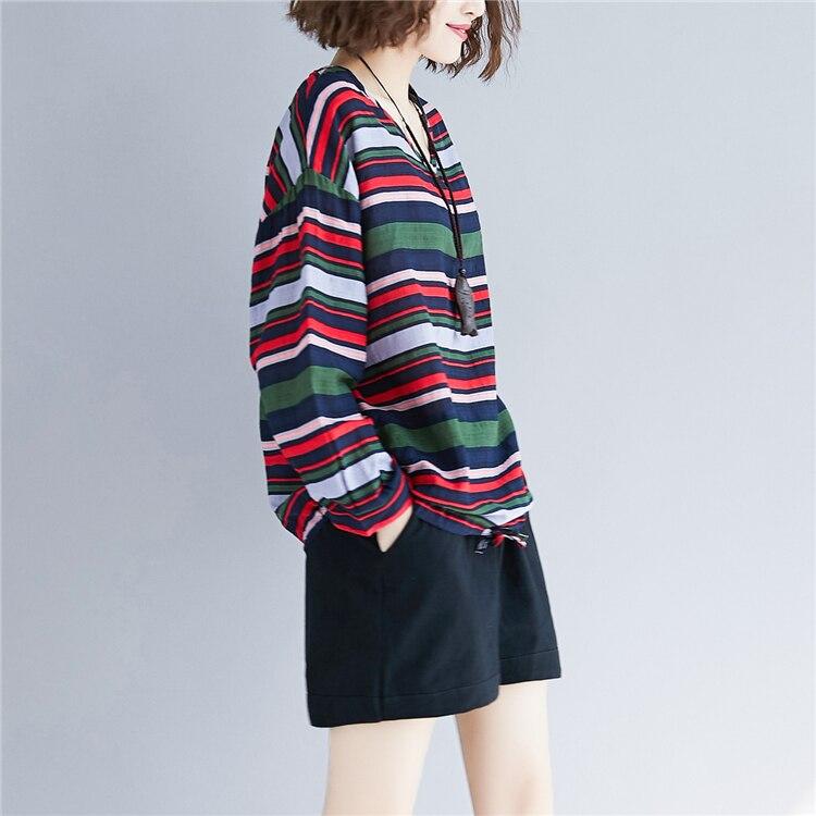 Doornot Oversized Striped Woman Tops & Tees V neck Long sleeve Ladies Tshirts Fashion Loose Drawstring Linen Women T-shirt 22