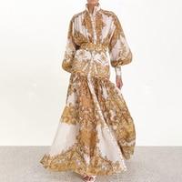 SRDP Gold floral long dress women robe sexy Vintage lantern sleeve summer dress festa Elegant chiffon maxi retro dress vestidos