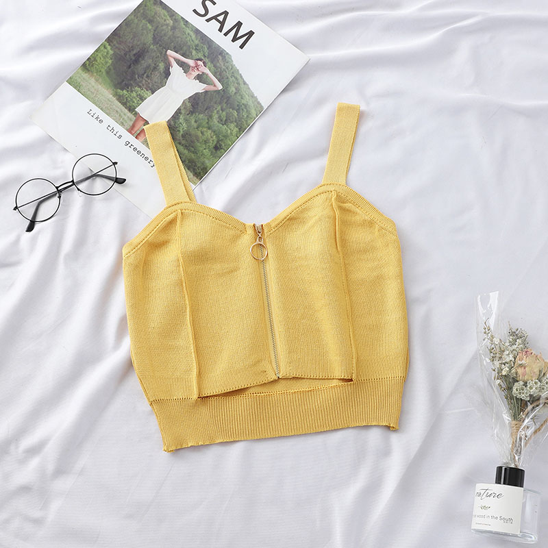 HELIAR Women Crop Top Club Sexy Zipper Knitting Camisole With Hole Female Tank Tops Ladies Sleeveless Solid Simple Tops Women 5
