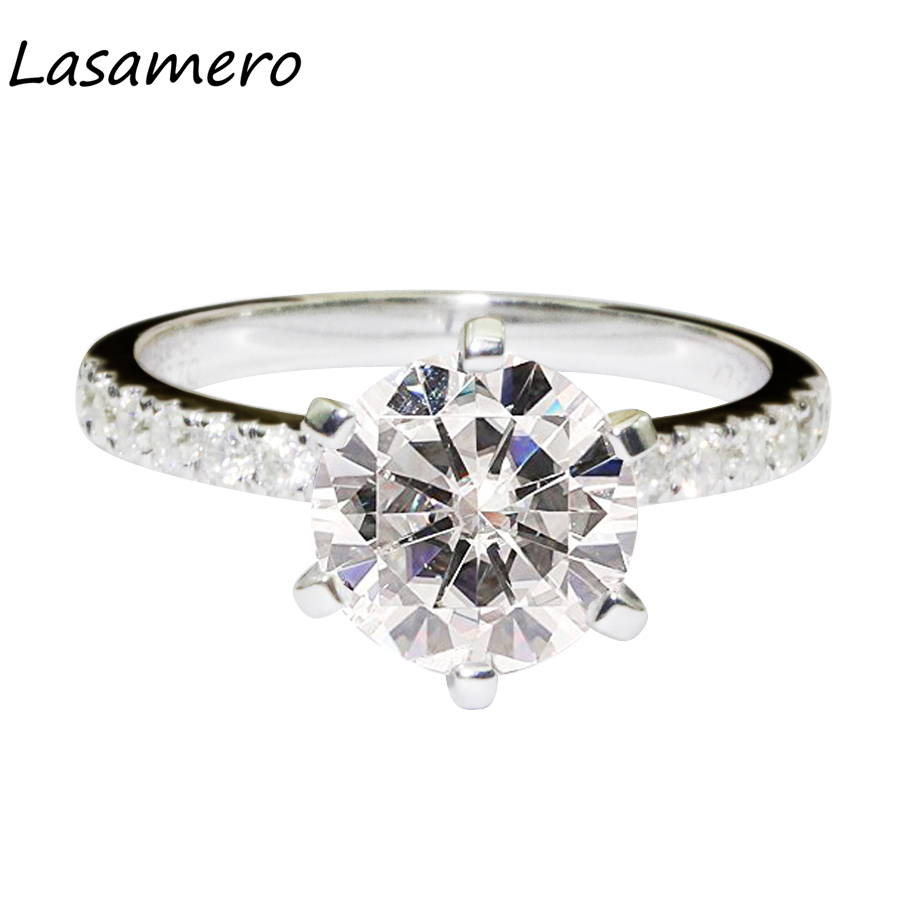 LASAMERO 2.5CT Luxury Round Cut Simulated Diamond Engagement Ring 925 Sterling Silver Ro ...
