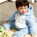 Животных костюм малыша ползунки костюм с капюшоном фланели синий межзвездное младенческой ползунки малыш комбинезон одежда ползунки