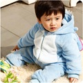 Bebé Animal Costume del niño del mameluco del traje de franela con capucha azul interestelar infantil niño del mameluco del mono de la ropa del mameluco