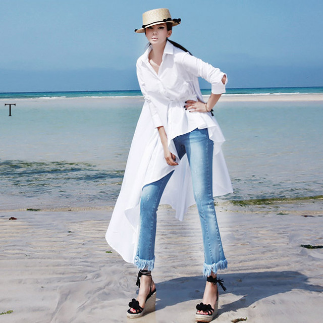 2017 Early Spring New Fashion Ladies White Shirt Korean Personality Tempeentram Do Not Rule Long Shirt