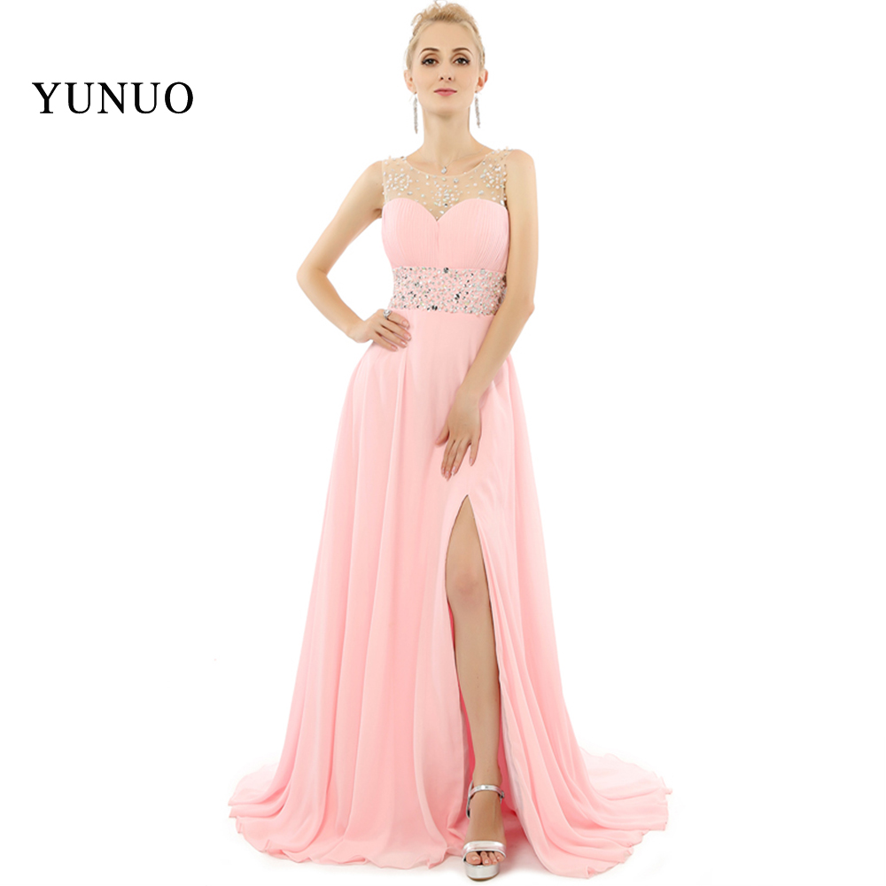 2019 Pink A Line Open Slit   Prom     Dresses   Long Floor Length O-Neck Beading   Prom     Dresses   Party Gown Vestidos De Festa x08211