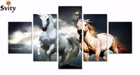 Framed Ready To Hang 5 Panels Horse Painting Canvas Wall Art Picture Home Decoration Living Room Modern Painting D013