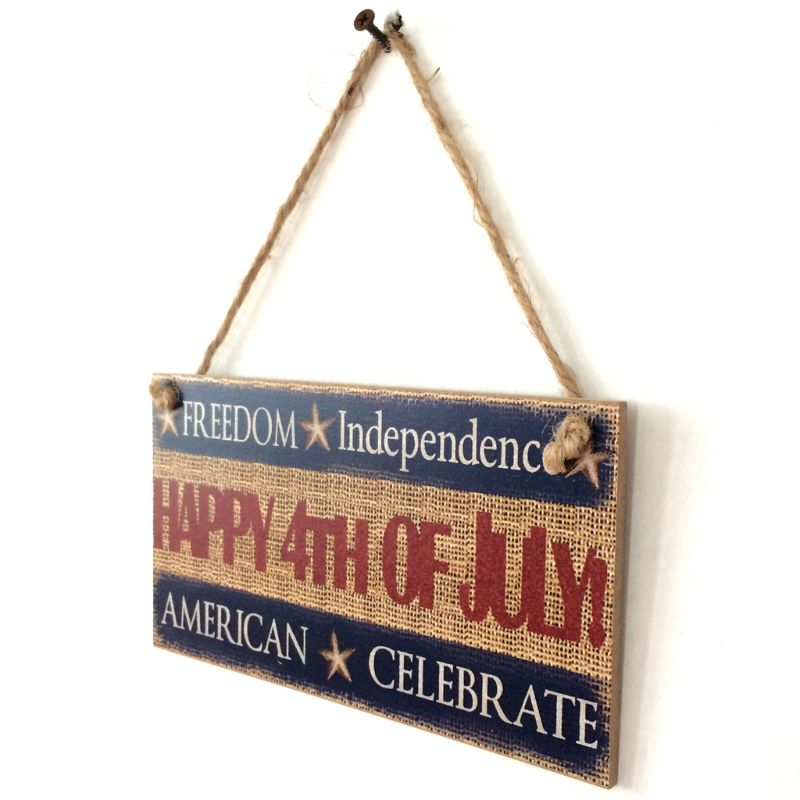Image 3 - Rustic Wooden Hanging Plaque Sign Board American Independence Day Happy 4th Of July Room Wall Door Home Decoration Gift-in Plaques & Signs from Home & Garden