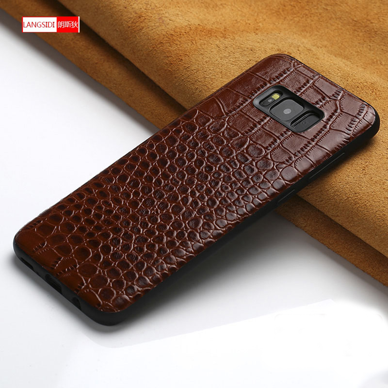 For Samsung Galaxy A7 2018 A8 A9 case Original leather Coque for S8 S9 s7 s10 plus back covers A30 Note 8 9 a5 2017 A80 A90 case image