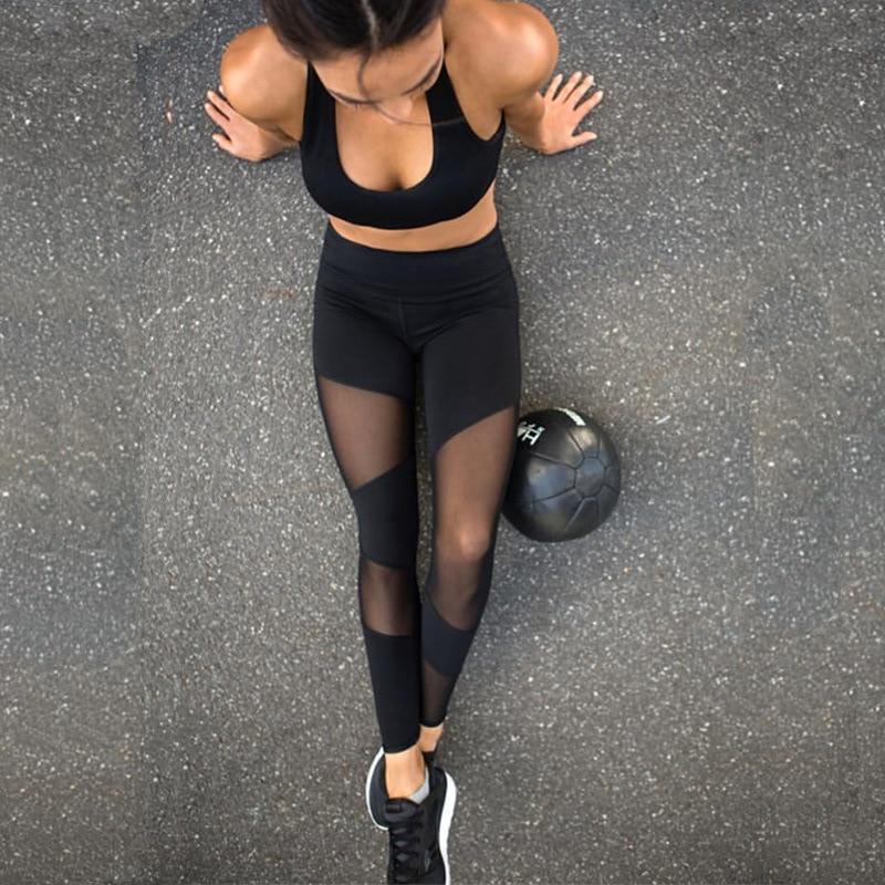 Leggings De Sport Activewear Mesh Insert Femme