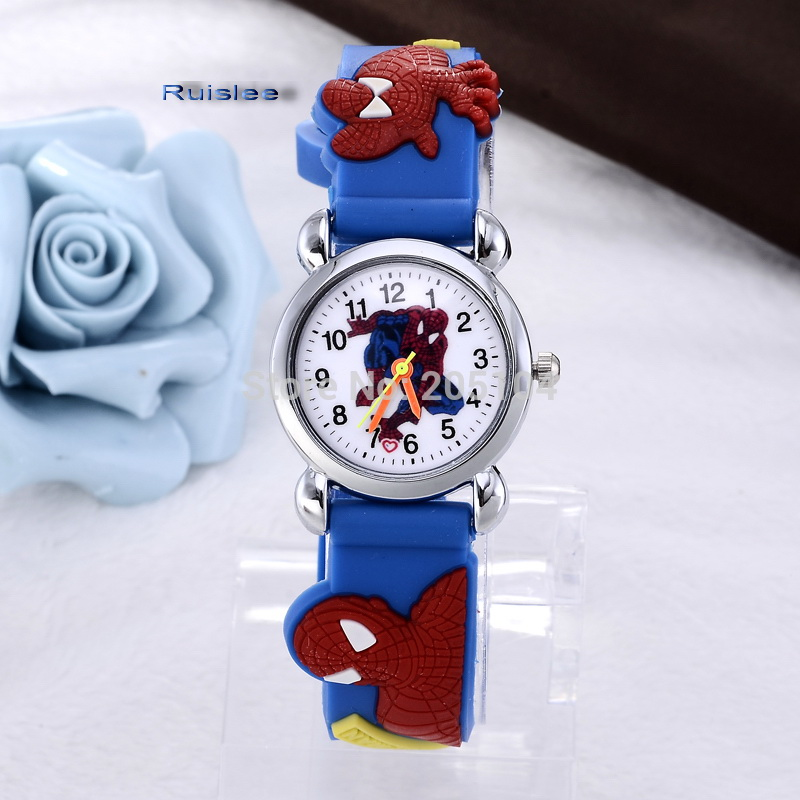 hot sale fashion cute spiderman cartoon-watch kids watches children watch boy cool 3d rubber strap quartz-watch clock hour gift beautiful cartoon rubber strap quartz watch with plane and cloud shaped watchband for children azure