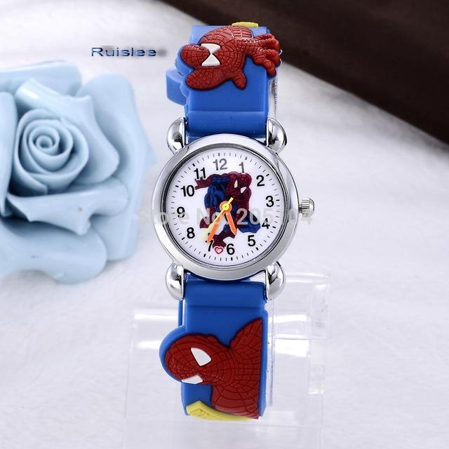 hot sale fashion cute spiderman cartoon-watch kids watches children watch boy cool 3d rubber strap quartz-watch clock hour gift