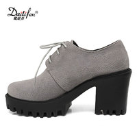 Daitifen Spring Casual Women High-heeled Shoes Rome Comfort Block Heels Platform Pumps Woman Lace-Up Casual Shoes Black Green