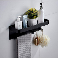 Bathroom Shelf Shower Organiser Wall Mount Multifunction Space Aluminum Black Frame Bathroom 2 Installation Methods 40 CM