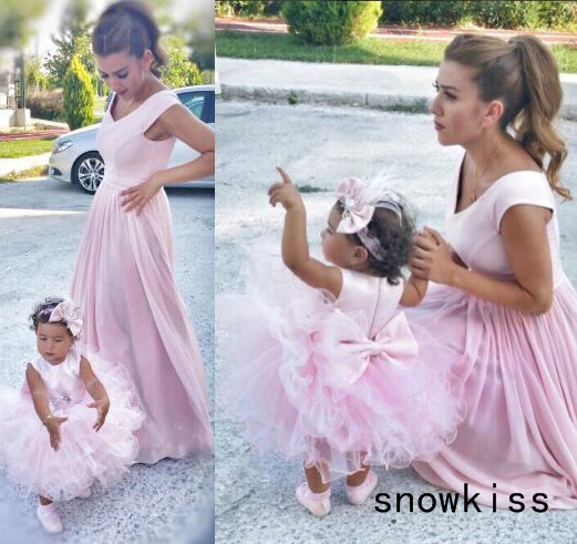 Cute sleeveless pink ruffles tutu knee-length flower girl dresses mother and daughter dress for evening prom party baby birthday