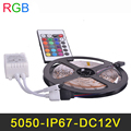 IP65 Waterproof RGB LED Strip Light SMD5050 5m 300LEDs Flexible LED Tape Ribbon Lamp DC12V 16 Colors Change IR Remote Controller