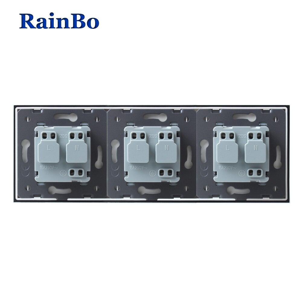 RainBo Manufacturer-Wall power-Socket EU-Standard   Crystal-Glass-Panel AC 110~250V-16A 222*80mm Wall-Socket A38E8E8EW/B