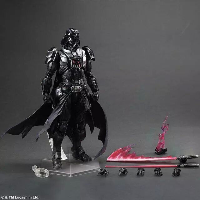 все цены на 28CM Star Wars Action Figure Playarts Kai Darth Vader Toys Collection Model PVC Star Wars Vader Play arts Kai онлайн