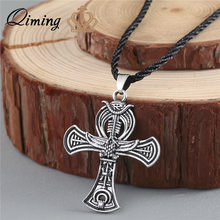 QIMING VAnkh Necklace Egyptian Cross Life Silver pendant Ankh Silver Necklace Women Charm Pendant Power of Life Viking jewelry(Hong Kong,China)