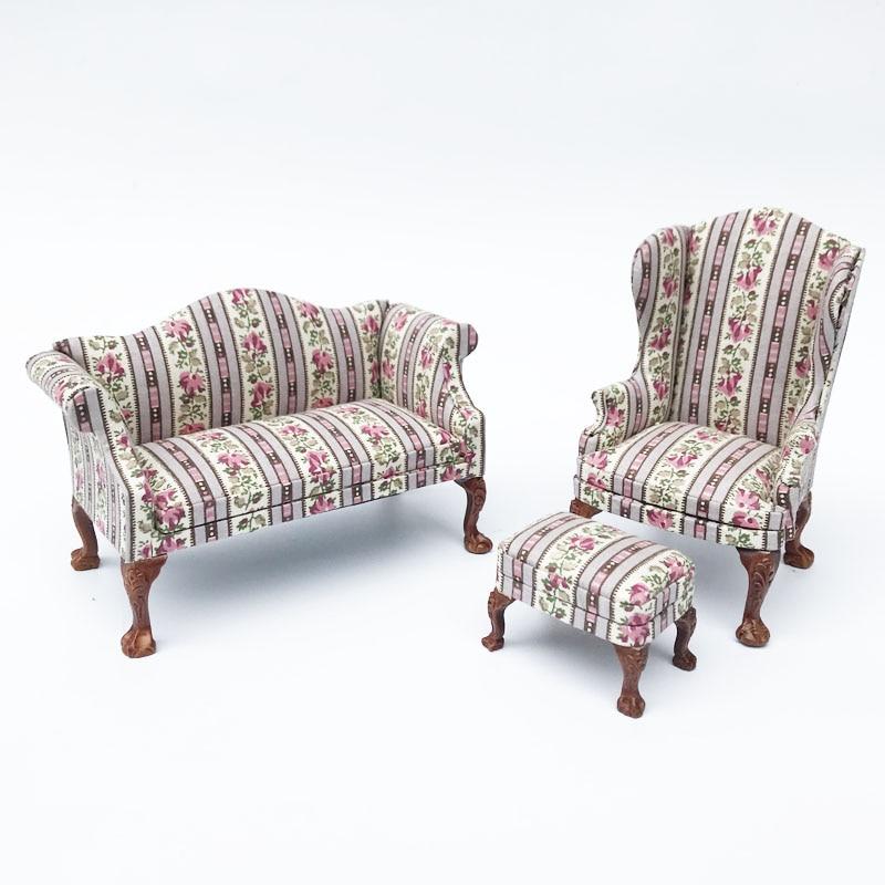 Mini 1:12 Scale Doll house wooden miniature furniture Fabric sofa armchair living room