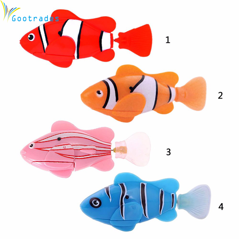 Funny swim electronic robofish activated battery powered for Swimming fish cat toy