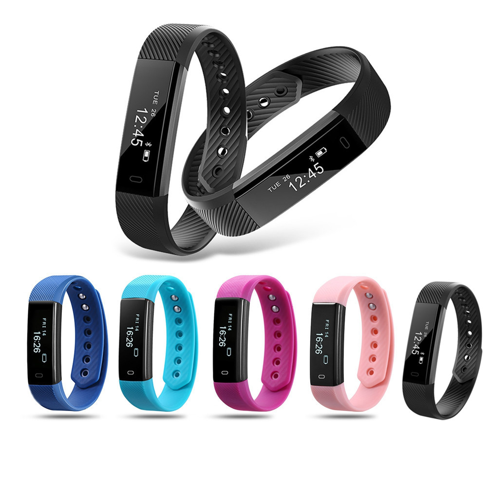ID115 Smart Bracelet Fitness Tracker Step Counter Fitness Band Alarm Clock Vibration Wristband For Iphone Android