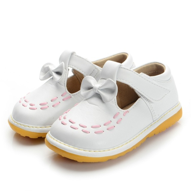 White Toddler Girl Squeaky Shoes Size 3 4 5 6 7 8 9 First Walkers Soft Sole Baby Leather Casual Shoes