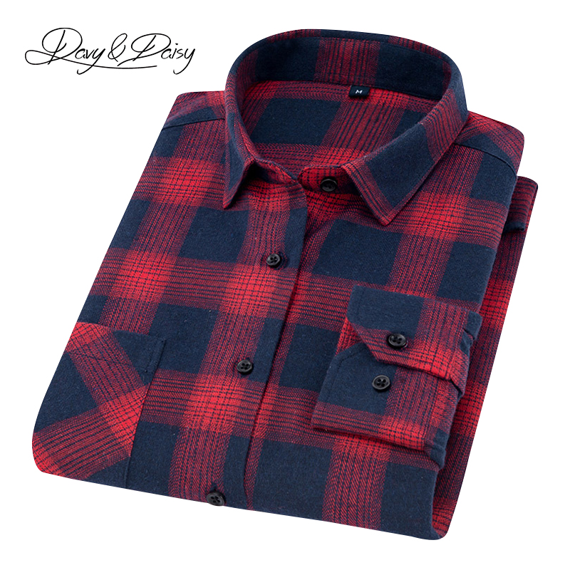 DAVYDAISY 2019 New Autumn Men Flannel Shirts Plaid Shirt Men Long Sleeved Comfortable Causal Shirts Men Brand Clothing DS-259