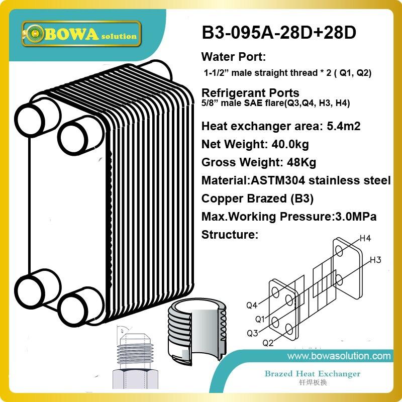 53KW PHE как испаритель охладителя воды состоит из двух кругов хладагента (2 набора ZP120KCE comp.) и одного круга воды