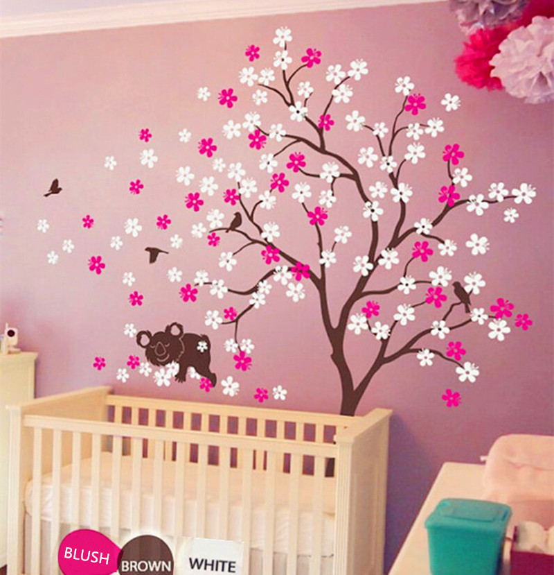 Koala Lying Blooms Beneath Wall Sticker Baby Bedroom Art Decor Vinyl Birds And Flowers Decals Warmly Decorated Room In Stickers From Home