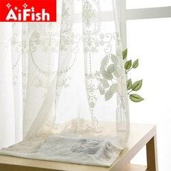 Luksusowa europa biała bawełniana pościel tkanina na zasłony tiul do sypialni haftowane prześwitujące firanki do salonu panele AP014-40