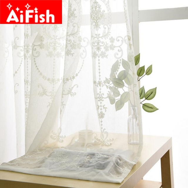 Luxury Europe White Cotton Linen Curtain Fabrics Tulle For Bedroom Embroidered Sheer Curtains Living Room