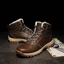 Winter Warm Men Boots Leather Fur Plus Snow Handmade Waterproof Outdoor Working Ankle High Top Shoes 2020