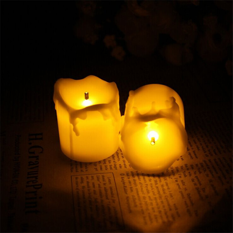 12pcs flameless candles with amber yellow candle led tea light home dinner room - Flameless Candles With Timer