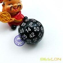 Bescon многогранные кубики в переменного тока, 50-двусторонний игровой кости, D50 под давлением, D50 кости, 50 сторон кости, 50 Двусторонняя куб черный Цвет